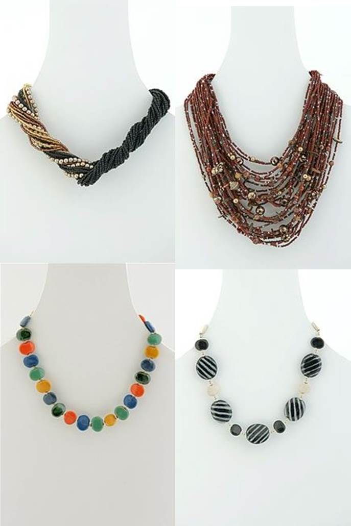 Beaded jewelry sample necklaces