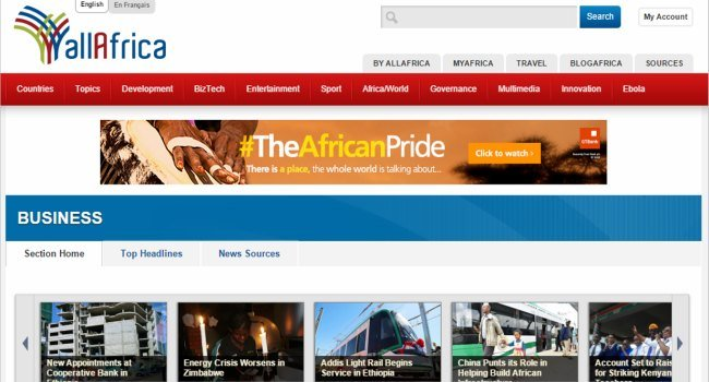 websites about africa
